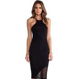Donna Mizani black midlength racer front dress